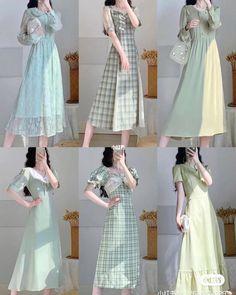 Korean Fashion Dress, Korean Dress, Ulzzang Fashion, Kpop Fashion Outfits, Cute Fashion, Asian Fashion, Modest Fashion, Fashion Dresses, Classy Outfits