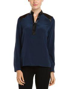 Parker Winona Eclipse Silk Leather Trim Blouse is on Rue. Shop it now.