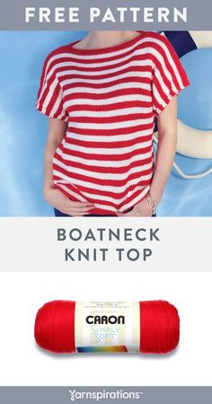 Knit the Boatneck Top with our free pattern. This top has a beautiful finish as shown with Red and White Caron Simply Soft - or complete it using any 2 tones that take you away to your happy place. There are so many shades to choose from! Baby Knitting Patterns, Free Knitting, Crochet Patterns, Knitting Sweaters, Knitting Ideas, Pull Crochet, Knit Crochet, Renewable Energy, Solar Energy