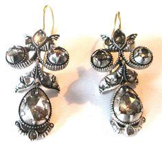 Pair of Georgian Rose Cut Diamond Earrings Circa. 1800