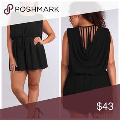 💣PLUS💣NEW💣The Halle Black Romper Sexy sleeveless  solid black romper with round neck, elastic waist with drawstring adjustment, inverted plea at front, and cowl back with multi strap embellishment. 100% Polyester. Pants Jumpsuits & Rompers