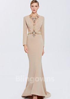 Ruched V-neck Zipper Mermaid Sweep Dacron Long Sleeves Homecoming / Prom Dresses Mermaid Dresses, Formal Dresses, Wedding Dresses, Prom, Fashion, Dresses For Formal, Bride Dresses, Senior Prom, Moda
