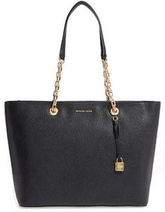 Shop Now - >  https://api.shopstyle.com/action/apiVisitRetailer?id=608566088&pid=uid6996-25233114-59 Michael Michael Kors Mercer Leather Tote - Black  ...