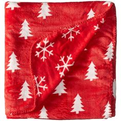 Life is good Pine Trees and Snowflakes Blanket (Simply Red) Blankets ($38) ❤ liked on Polyvore featuring home, bed & bath, bedding, blankets, snowflake throw, plush throw, plush blanket throw, plush blankets and red throw