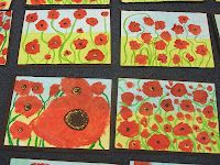 Room 15: Poppy Art - varying the sizes of the poppies makes a much more interesting composition