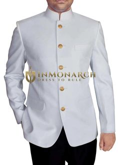 Mandarin collar five button partywear Jodhpuri suit 2 Pc (Jacket, Pant) made in white color pure polyester fabric. It has bottom as matching black polyester trouser. Nigerian Men Fashion, Indian Men Fashion, Mens Fashion Suits, Mens Suits, African Wear Styles For Men, African Dresses Men, African Attire For Men, Indian Wedding Clothes For Men, Mens White Suit