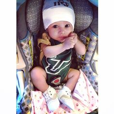 This Baby Bull is sporting a #USF onesie and hat!
