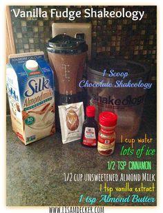 Vanilla Fudge Shakeology, Shakeology Recipes, Chocolate Shakeology Recipes