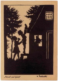 Hansel and Gretel. Old German fairy tale postcard of Rotkäppchen from the Brothers Grimm
