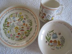 Vintage Children's Dishes   Matching Plate Cereal by FindsinFargo