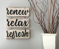 Renew Relax Refresh Spa Sign/Spa Art/Bathroom Art/Relax Sign/Bathroom Decor Sign/Spa Sign Set/Spa Decor/Massage Room Decor/Massage Room Sign by KobersCreations on Etsy