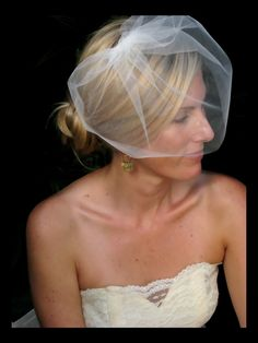 Destiny wedding veil, bridal veill, blusher veil, bridal hair accessories. $29.00, via Etsy.