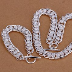 Gorgeous Thick Snake Bone Braid Chain Silver Jewelry Sets for Wedding