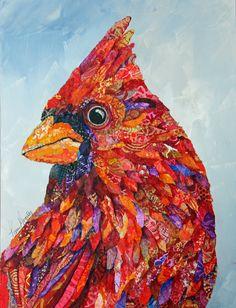 Mixed Media Collage by Lisa Morales. The Messenger. Lisa Morales, Paper Collage Art, Bird Quilt, Animal Quilts, Penny Lane, Landscape Quilts, Arte Pop, Art Plastique, Bird Art