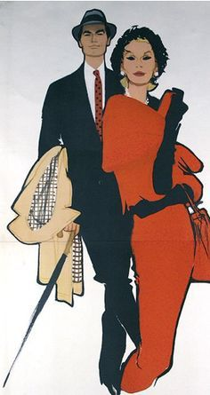 Fashion illustration by René Gruau (1909-2004).