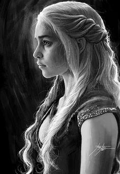 Portrait: Daenerys Targaryen (Game of Throne) por Dessin Game Of Thrones, Game Of Thrones Drawings, Game Of Thrones Art, Realistic Pencil Drawings, Pencil Art Drawings, Art Sketches, Tyron Lannister, Drawings Pinterest, Daenerys Targaryen