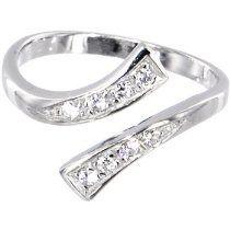 Solid 14K White Gold .08 Carat Genuine Diamond Paved Adjustable Toe Ring