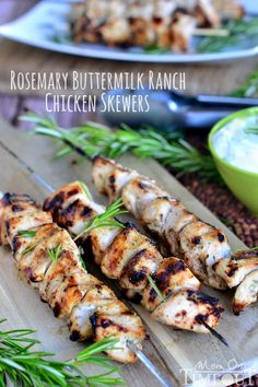 Rosemary Buttermilk Ranch Chicken Skewers recipe - this healthy dinner option is a great meal that cooks up quick on the barbeque! from MomOnTimeout.com