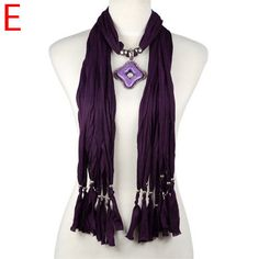 new french style fashion scarf with jewelry pendant charms indigo NL-1968E #Welldone #Scarf