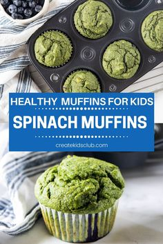 Healthy muffins for kids. These spinach muffins are made with bananas and blueberries providing servings of both fruit and veggies in one delicious snack! #healthymuffinsforkids #spinachmuffins #spinachmuffinrecipe #createkidsclub Fun Recipes, Muffin Recipes, Family Recipes, Cookie Recipes, Easy Homemade Snacks, Quick Snacks, Yummy Snacks, Spinach Muffins, Veggie Muffins