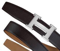 Hermès - Pelle reversibile per cintura in taurillon Polo e vitello Swift Altezza: 32 mm & Fibbia metallo argento e palladio