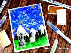 Starry Night Scene Zig Clean Color Markers! Tutorial by Nina-Marie on the Simon Says Stamp blog!