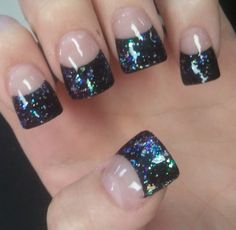Black With Sparkly Glitter Acrylic French Tips Nails