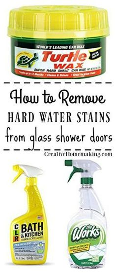 removing hard water stains from glass shower doors. Some of my favorite bathroom cleaning hacks!