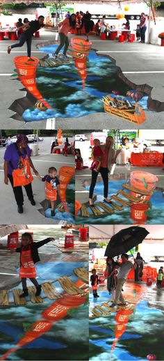 The Home Depot orange bucket is the star of this 3D chalk masterpiece!