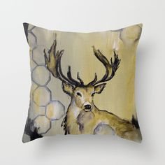 Stag Throw Pillow by sonalnathwani Surface Pattern Design, Pattern Art, Print Patterns, Sketchbook Pages, Hand Embroidery, Moose Art, Art Pieces, Textiles, Throw Pillows