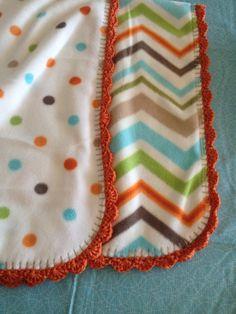 WarmHeartCrochet on Etsy Handmade Fleece baby blanket with shell crochet edging