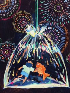金魚みた空の花火
