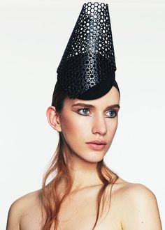 Perforated Net Headpiece | Label: Keely Hunter Millinery | Autumn/Winter 2014, Thermal Bridge Collection | Bridging her signature style with winter textures, Hunter mixes clean design with structural knits and fabrics to create a collection defined by its strong sense of warmth and protection