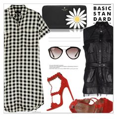 """""""Checked Shirt Dress"""" by arethaman ❤ liked on Polyvore featuring Kate Spade, Madewell, Alaïa, Ter Et Bantine, GetTheLook, shirtdress, leathervest and alaia"""