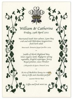 Prince William and Kate Middleton's Royal Wedding Menu Card Was Sold at Auction For $1,250!   TheKnot.com