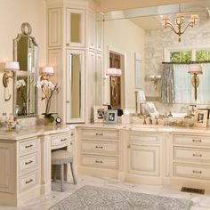 Like how this vanity is the same height as the rest of the countertop.Would like bigger though. Not crazy about the corner cabinet. Corner Vanity Design, Pictures, Remodel, Decor and Ideas - page 3 Peach Bathroom, Master Bathroom Vanity, Bathroom Vanity Cabinets, Bathroom Furniture, Bathroom Vanities, Bathroom Ideas, Makeup Vanities, Vanity Sink, Cream Bathroom