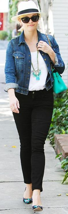 Who made  Reese Witherspoon's blue denim jacket and floral print pumps that she wore in Los Angeles?