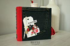 Mini en rouge, noir, blanc dont la couverture est recouverte de tissus. Les photos sont traitées en noir et blanc et de façon à ne laisser apparaître que le rouge - explications