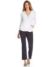 Style&co. Petite Textured-Stripe Zip-Up Hoodie & Tummy-Slimming Lounge Pants