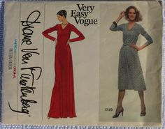 Very Easy Vogue American Designer Original Diane Von Furstenberg V Neck Pullover Dress Pattern 1729