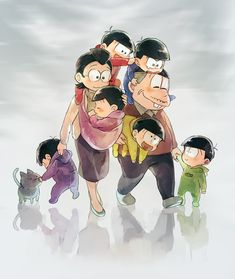 This is a pretty accurate way to describe the way I had pictured those two parents raising their sextuplets (since I haven't seen Osomatsu-kun and I've no idea what's about...)