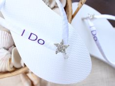 I do flip flops gift for the bride on her wedding day at the beach - purple glitter and crystal jewel starfish - Custom wedding shoes Bride Shoes, Wedding Shoes, Wedding Day, Small Bridal Parties, Wedding Flip Flops, Hot Pink Weddings, Honeymoon Gifts, Bridal Sandals, Purple Glitter
