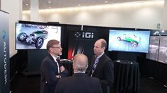 IGI supported partner Autodesk in their 2014 Los Angeles Auto Show Design Challenge booth. IGI provided the advanced visualization technology featuring Autodesk's VRED 3D visualization software that helps automotive designers and engineers create product presentations, design reviews, and virtual prototypes.  The solution contained three unique immersive and interactive demonstrations of the software in 4K 2-D, 4K 3-D (stereo) and with an Oculus Rift HMD (head mounted display).