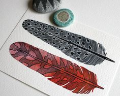 Feather Painting Watercolor Modern Art via River Luna ... Woodland Wonders Shopping List via Little Yellow Couch