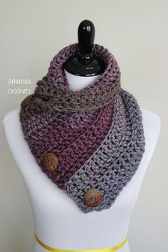 Today I'm going to share my 3 button cowl pattern. This is a simple yet beau… Today I'm going to share my 3 button cowl pattern. This is a simple yet beautiful cowl pattern using Caron Tea Cake yarn. This is a perfect winter accessory Pin: 236 x 353 Col Crochet, Crochet Shawl, Crochet Hooks, Crochet Stitches, Crochet Granny, Free Crochet, Double Crochet, Single Crochet, Winter Accessories