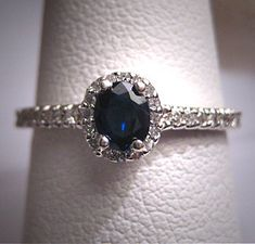 Vintage Sapphire Diamond Wedding Ring Art Deco Estate on Etsy, $985.00