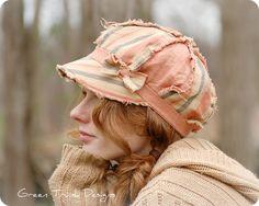 Peach Newsboy Hat Shabby Chic Boho Hippie Tattered Linen Fabric~I love this hat!!