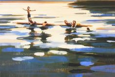 Buy Rabbit Lake 17, a Oil on Canvas by Elizabeth Lennie from Canada. It portrays: Beach, relevant to: summer, water, cottage life, kids playing in water, lake I paint images reminiscent of the memory myth of summer.