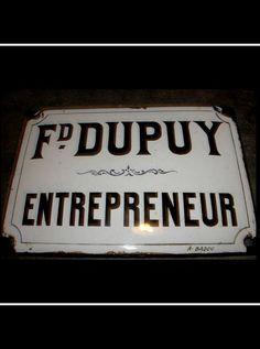 Enamel Plaque - Entrepreneur  FleaingFrance Brocante Society