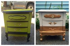 Before and after - now a gold dipped nightstand